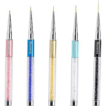 Nail Art Liner Brushes UV Gel Painting Acrylic Nail Design Nylon Brush Pen Set Metal Diamond application Rhinestone Handle Salon, Nail Dotting Painting Drawing Crystal PenSize 5/7/9/11/20mm,5Pcs