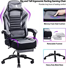 VON RACER Big & Tall 400lb Memory Foam Reclining Gaming Chair Metal Base - Adjustable Back Angle and Retractable Footrest Ergonomic High-Back Leather Racing Executive Computer Desk Office Chair, Gray