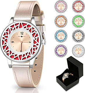 Christmas Gifts for Women, Essential Oil Bracelets Women Watch, Leather Band Aromathery Diffuser Bracelet Women Wrist Watch with 8pcs Washable Pads Gifts for Mom
