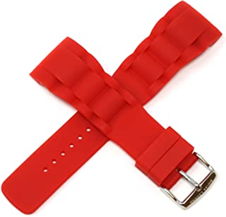 Swiss Legend 29MM Red Silicone Rubber Watch Strap Stainless Silver Buckle fits 47mm Commander Watch