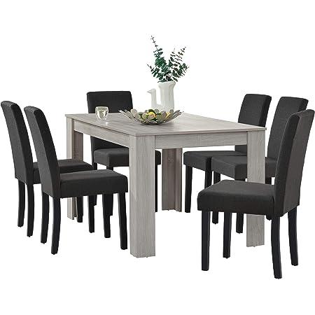 [en.casa] Table de Salle à Manger Noble en Design chêne + 6 Chaise de Salle à Manger en Gris foncé - 140x90cm