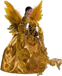 Kurt Adler UL 10-Light African American Angel Christmas Treetop Figurine, 13-Inch, Gold