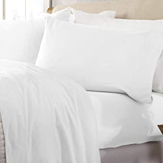 Great Bay Home Extra Soft 100% Turkish Cotton Flannel Sheet Set. Warm, Cozy, Lightweight, Luxury Winter Bed Sheets in Solid Colors. Nordic Collection (Full, Winter White)