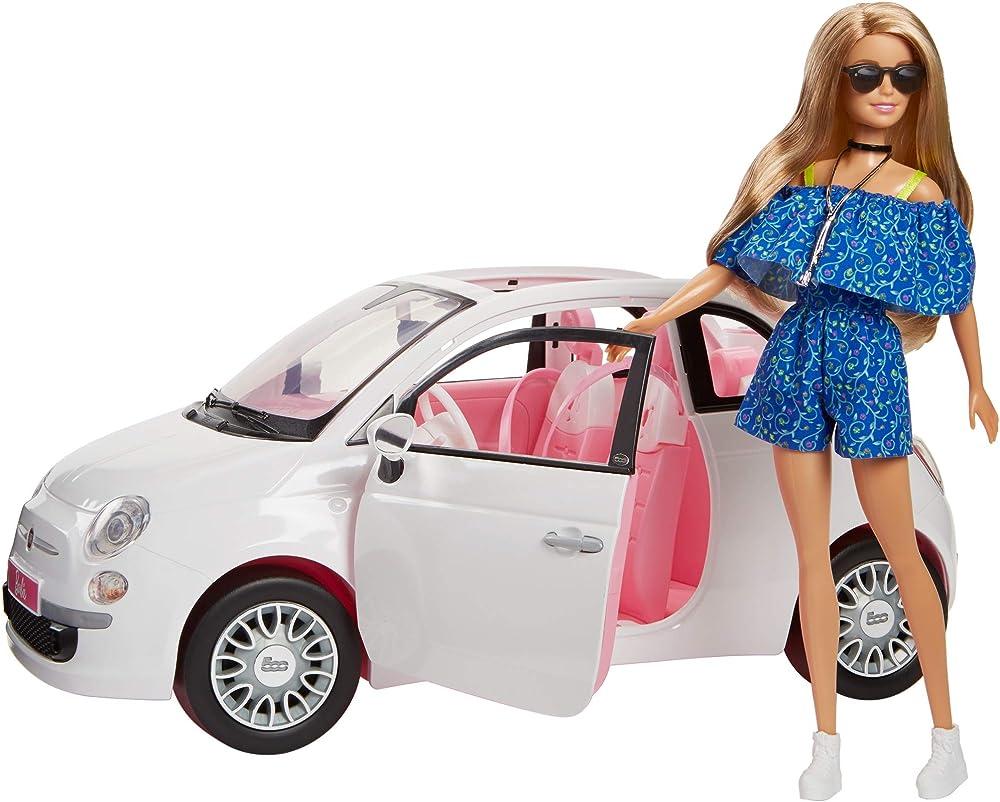 Barbie bambola con fiat 500, macchina con dettagli realistici, portiere apribili FVR07