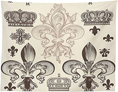 vipsung Fleur De Lis Decor Tablecloth Heraldic Pattern with Fleur de Lis and Crowns Tiara Iris