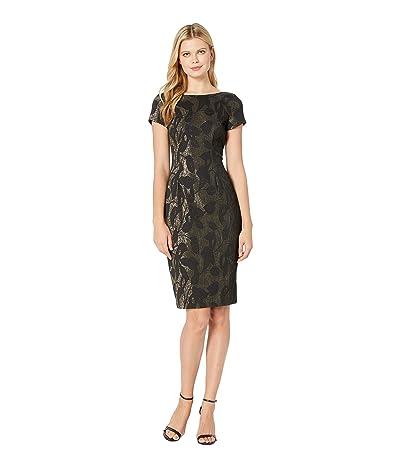 Adrianna Papell Metallic Jacquard Sheath Dress (Black) Women