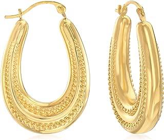 Andiamo 14kt Yellow Gold Beaded Oval Hoop Earrings