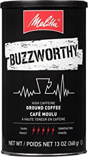 Melitta Buzzworthy High Caffeine Coffee by Melitta, Dark Roast, Ground, 13 oz