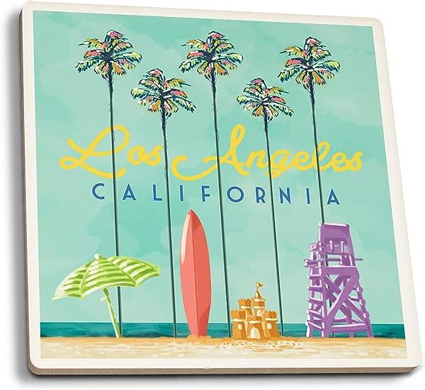 Lantern Press Los Angeles California Tall Palms Beach Scene Set Of 4 Ceramic Coasters Cork Backed Absorbent