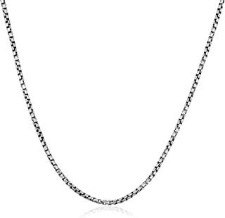 Oxidized Sterling Silver 1.1 mm Round Box Chain Necklace (18, 20, 22, 24, 30 or 36 inch)