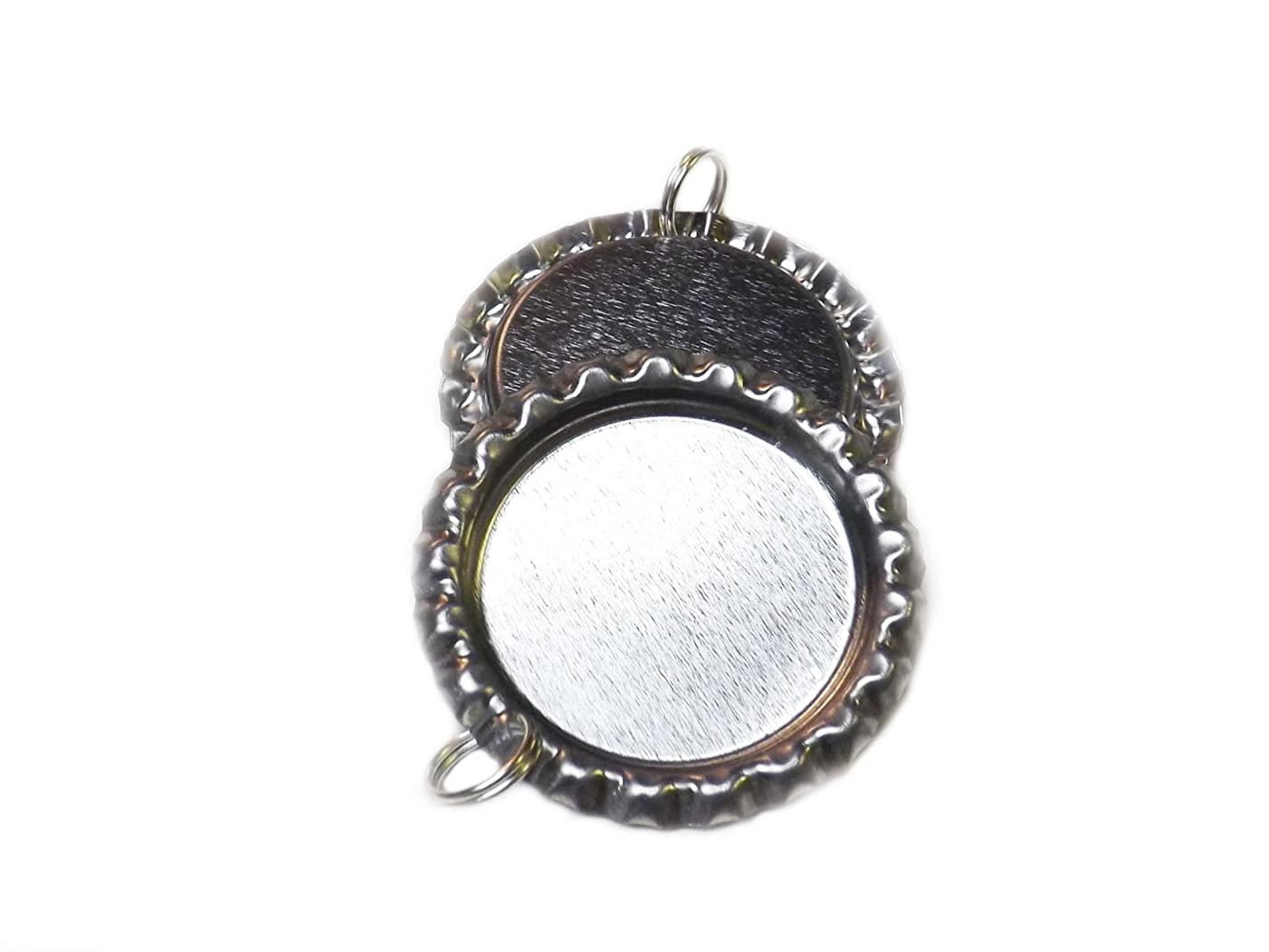 Bottle Caps,Beads and More(TM) 25 Flat Bottle Caps with Split Rings Attached - Bottlecap Photo Pendants for DIY Craft Kits