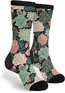 Women's Men's Fun Novelty Crazy Crew Socks Succulents Roses Dress Socks
