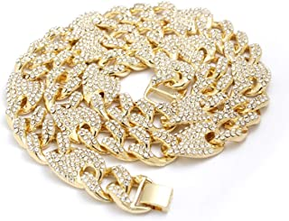 14k Gold Plated Iced Out 13mm and 16mm Cuban Mariner Necklace Figaro Chain & Bracelet