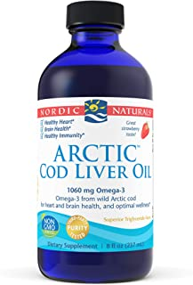 Nordic Naturals Arctic Cod Liver Oil, Strawberry - 8 oz - 1060 mg Total Omega-3s with EPA & DHA - Heart & Brain Health, He...