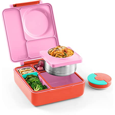 OmieBox Bento Box for Kids - Insulated Bento Lunch Box with Leak Proof Thermos Food Jar - 3 Compartments, Two Temperature Zones (Single) (Packaging May Vary)