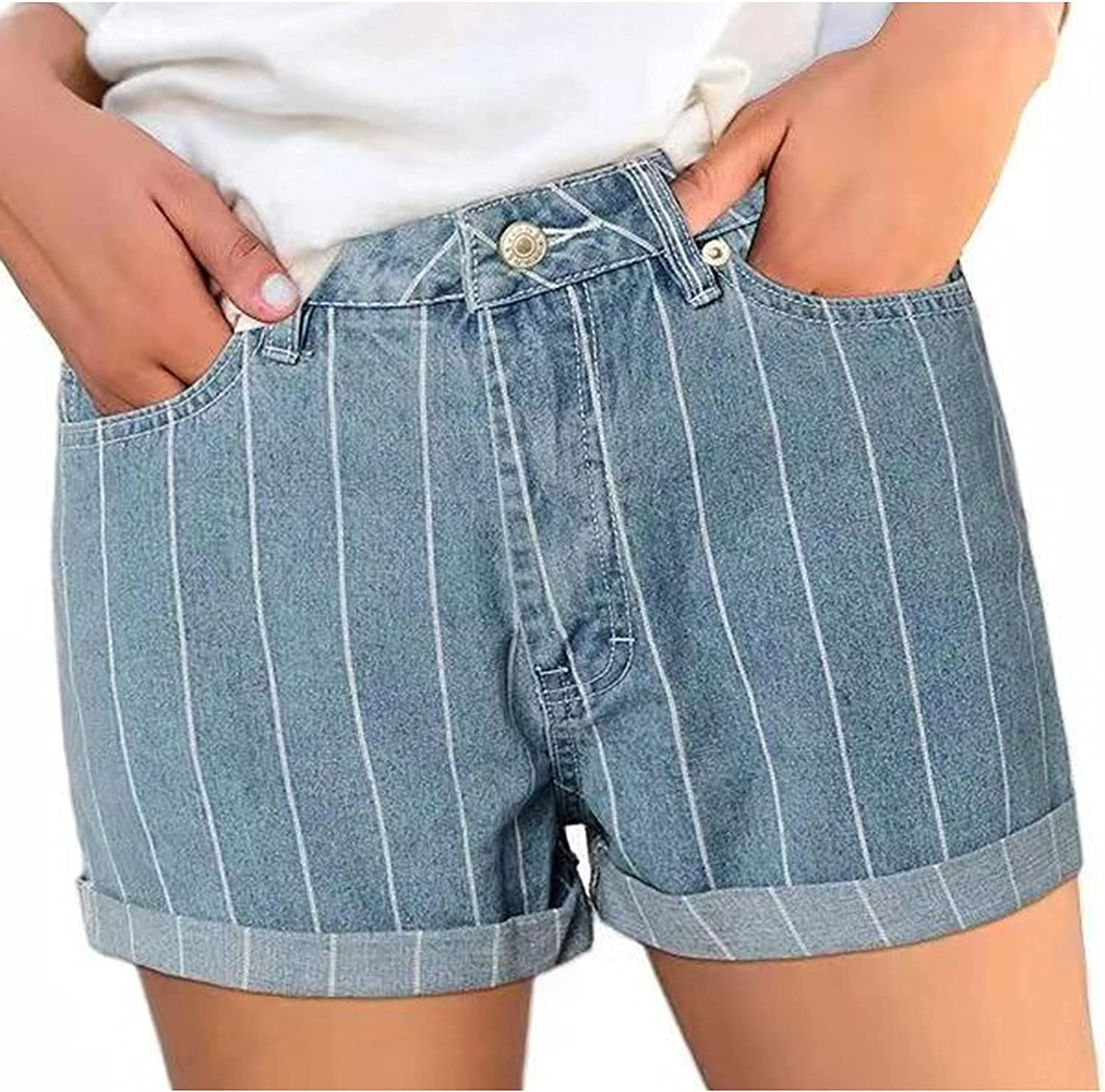 ESULOMP Women's Casual Jeans Shorts Stretchy Distressed Denim Shorts Slim Comfy Jeans Pants with Pockets