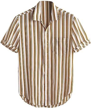 CAOQAO Camisas Hombre Manga Corta Amarillo Hawaiana Camisa ...