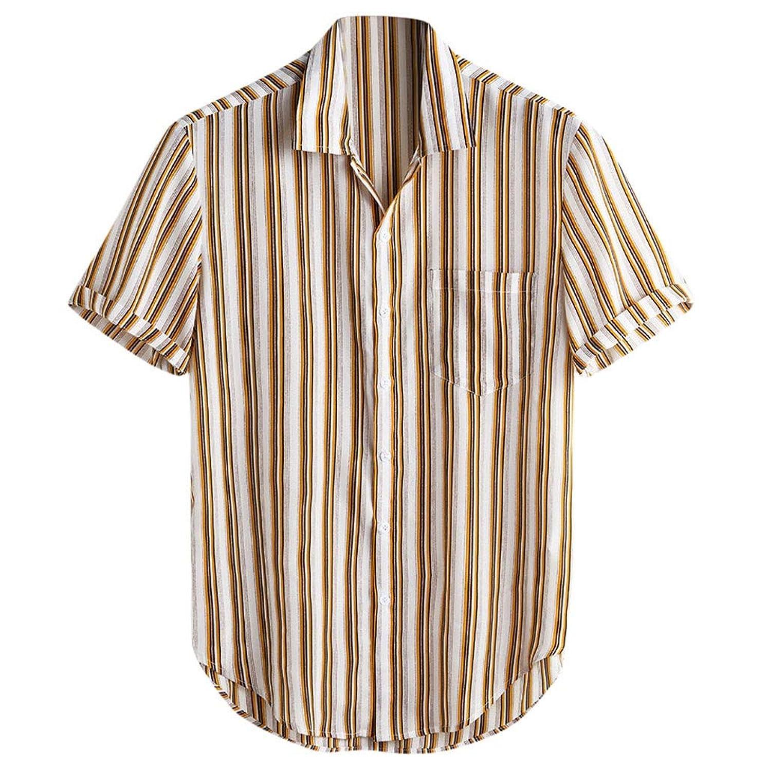 VEZAD Men Cotton Printed Hawaiian Stand Collar Short Sleeve Loose Shirt
