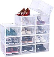 منظم للأحذية، عبوة من 12 علبة تخزين لتخزين صناديق الأحذية، رف حذاء قابل للطي عالي الجودة قابل للتكديس، وفتحة أمامية على ال...