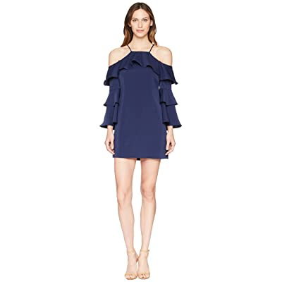 Laundry by Shelli Segal Cold Shoulder Dress with Tiered Sleeves (Midnight) Women