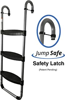 Wide 3-Step Trampoline Ladder | Safety-Latch | No Slip | Cooler Surface | [Lifetime Parts Warranty]