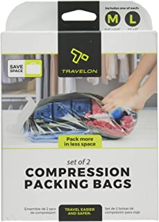 Travelon Set of 2 Compression Packing Bags, Clear, 1 Medium/1Large
