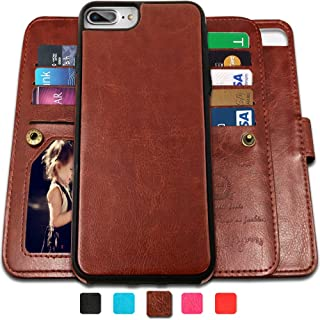 CASEOWL iPhone 8 Plus Case,iPhone 7 Plus Wallet Cases with Detachable Slim Case with 9 Card Slots,Stands,Strap for iPhone 7 Plus(2016)/8 Plus(2017), 2 in 1 Folio Leather Removable TPU Case(Brown)