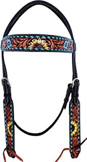 CHALLENGER Horse Western Floral Tooled Laced Browband Tack Bridle Headstall 78HR02HB