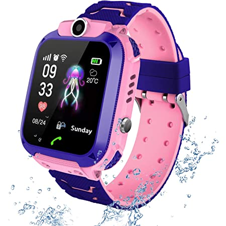 Kids Smart Watch Phone per Bambini IP67 Impermeabile, Orologio Smart Phone LBS Anti-perso con Chat Vocale, Sveglia SOS per il Gioco di Matematica Studente Smart Watch, Regalo Ragazzo e Ragazza (Rose)