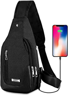 Lightweight Casual Canvas Unbalance Backpack Crossbody Sling Shoulder Bag Chest Bag with USB Charging Port for Men Women
