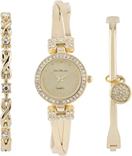 Women's Bangle Bling Watch and Multi Bracelet Matching 3 Piece Set with Gift Box