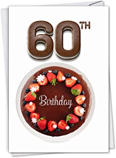 Big Day 60 - Milestone 60th Happy Birthday Card with Envelope (4.63 x 6.75 Inch) - Delicious Chocolate Fruit Cake, Bday Gift for Mom, Dad, Birthdays - Congrats and Appreciation Stationery C7060GMBG