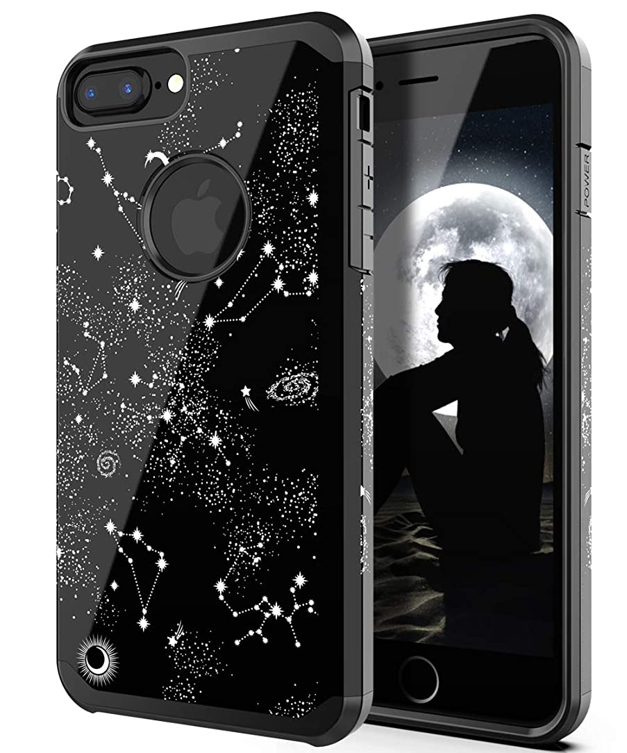 PBRO iPhone 6 Plus Case,iPhone 6s Plus Case,iPhone 7 Plus Case,iPhone 8 Plus Case,Cute Universe Constellatio Case Dual Layer Soft Silicone & Hard Back Cover PC+TPU Protective Shockproof Case-Black wgy75506643