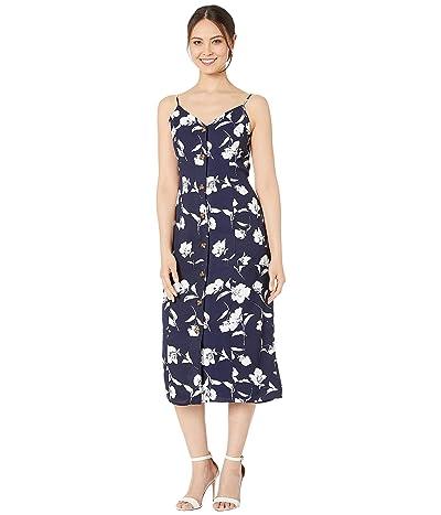 American Rose Lillie Spaghetti Strap Floral Midi Dress (Navy/White) Women