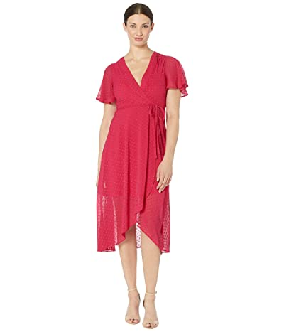 Vince Camuto Clip Dot Tulip Skirt Midi Dress with Flounce Sleeve (Berry) Women