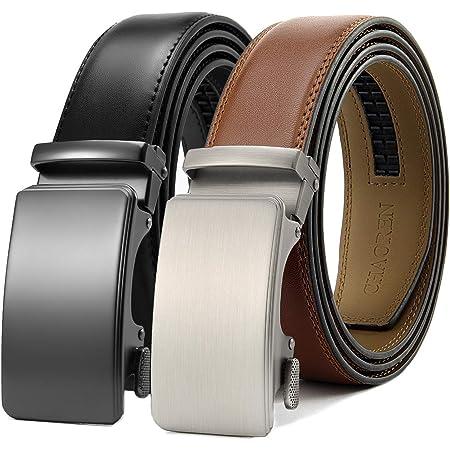 CHAOREN Automatic Belt 2 Pieces Ratchet Leather Belt Men 35 mm Wide with Gift Box - Multicolour - X-Large