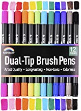 Rainbow Premium Dual Tip Pens - 12 Unique Watercolors - Gift Box - Fineliner & Brush Tips - Water Based Ink - Non Bleed - Art Marker Set for Coloring, Journaling, Sketching, Lettering, Calligraphy