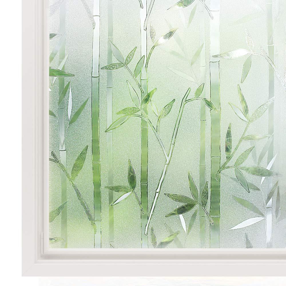 rabbitgoo 3ft x 3d no glue static decorative frosted.htm rabbitgoo window film privacy  bamboo decorative glass film  rabbitgoo window film privacy  bamboo