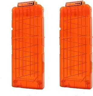 Hosim Reload Clip for Nerf, 2 Pcs Soft Bullet Clips High Capacity12-Dart Magazines for Nerf N-Strike Kid's Toy Gun - Transparent Orange