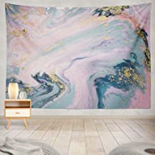 Summor Liquid with Marbled Blue and Pink Marble Gold Rose Pink Golden Acrylic Art Blue Art Nature Home Decorations for Living Room Bedroom Dorm Decor in 80