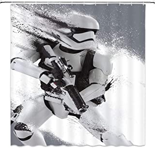 Lileihao Star Wars Shower Curtains White Martial Bathroom Decor Background Waterproof Polyester Fabric Home Bathroom Accessories Shower Curtain Set Non-Peva 69 x 70 inch with Hooks
