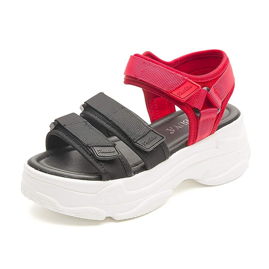 上向き試してみるパッチ[Bornran] サンダル レディース 厚底 シューズ スポーツサンダル スニーカー マジックテープ アウトドア コンフォート 歩きやすい 軽量 疲れない ストラップ 靴 織り