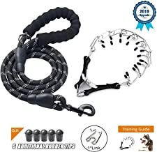 Deyace Dog Prong Collar, Professional Dog Pinch Training Collar, Stainless Steel Choke Pinch Dog Collar with Comfort Tips Heavy Duty Leash, Adjustable Size and Quick Release Buckle (Collar&Leash)