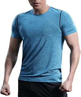 TBMPOY Men's Quick Dry Athletic Sports T Shirts Short Sleeve Running Top