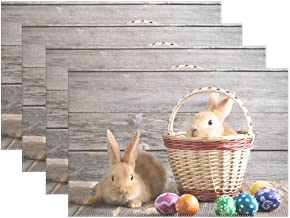 Chen Miranda Rabbits Easter Eggs On Wood Polyester Placemats of Home Decor for Dining Table Party Kitchen Table Everyday Use Meal Pad Cup Mat 12x18 Set of 6