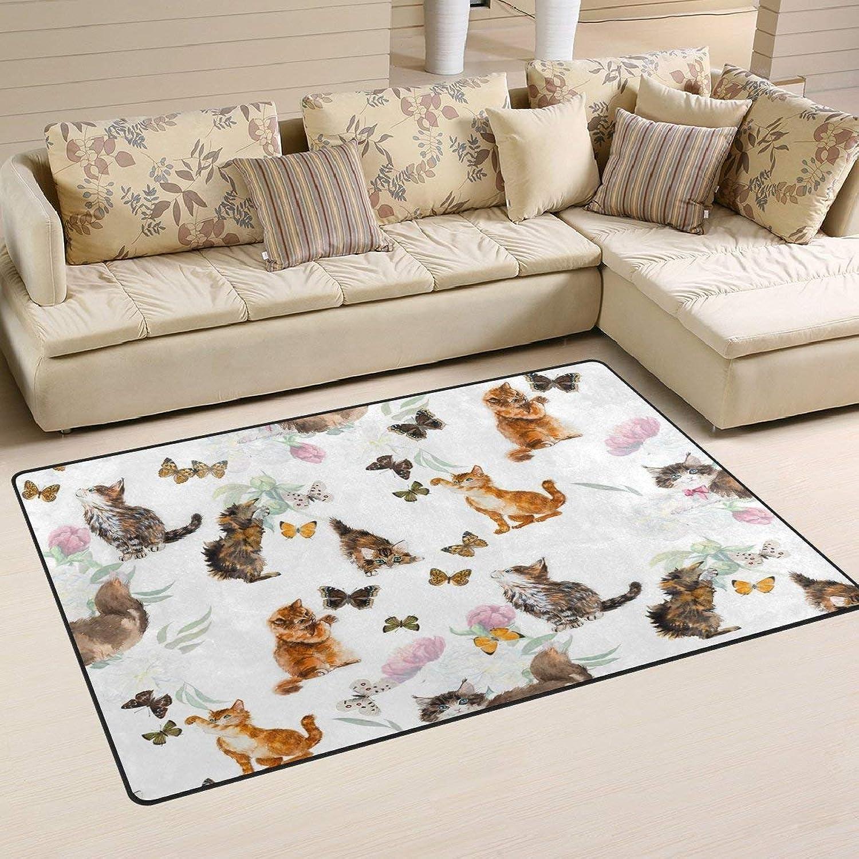Cute Cat Kitten Butterfly Floor Mat Rug Indoor Front Door Kitchen and Living Room Bedroom Mats Rubber Non Slip