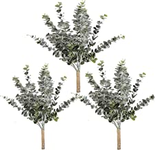 "Linkhome 3 Pcs Eucalyptus LeavesSpray Artificial Greenery Stems Fake Wired Eucalyptus Plants 21.6"" Tall Decorative for Wedding Jungle Party Floral Greens"