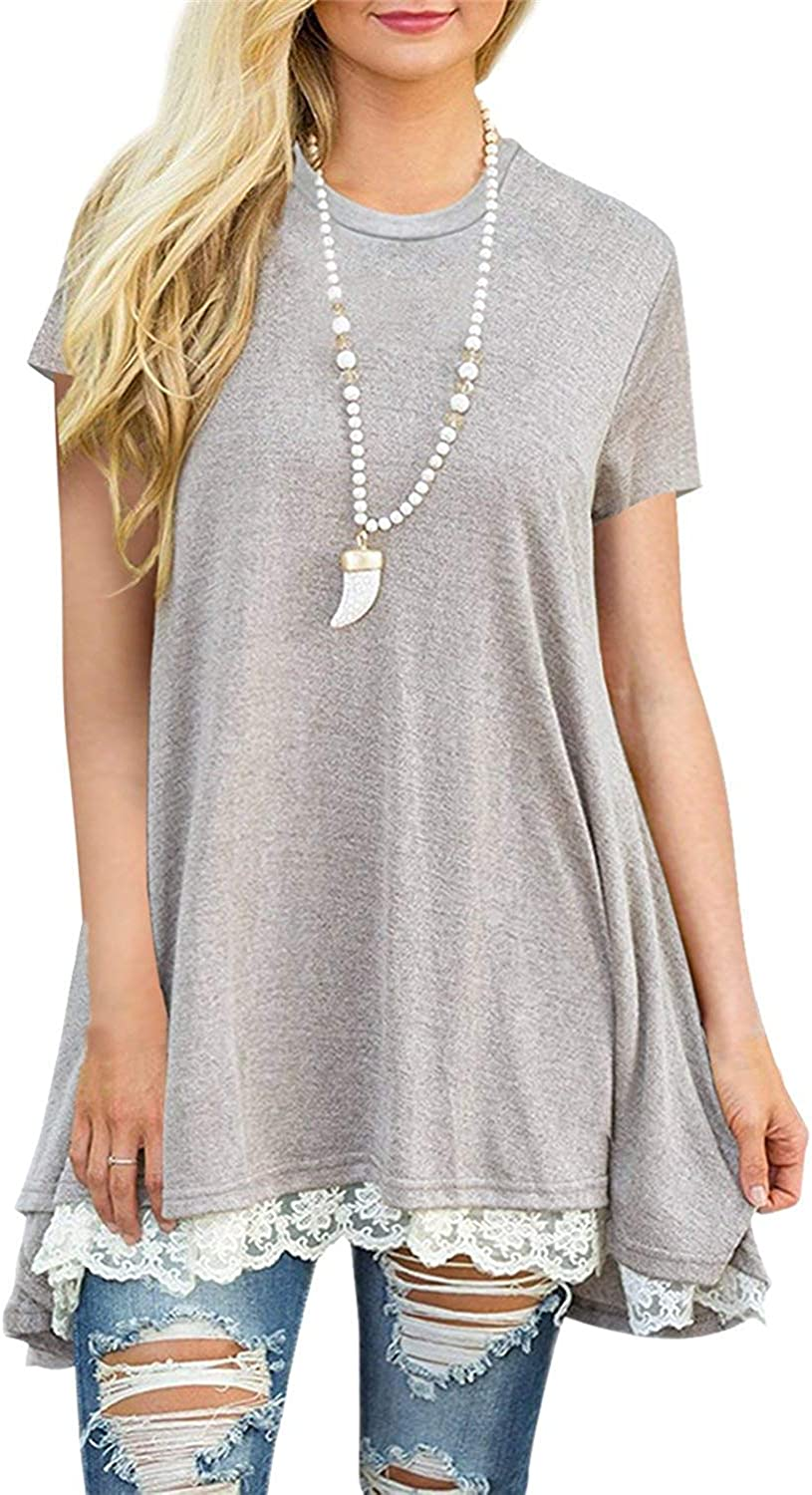 LERUCCI Women's Lace Short Sleeve Tunic Top Blouse Light Grey XLarge