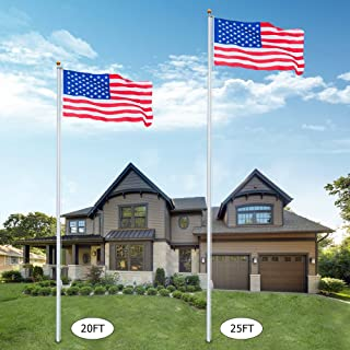 VINGLI Upgraded 20FT Sectional Aluminum Flagpole, Thick Tube Halyard Flag Pole,Kit Free 27~33mph 3'x5' USA American Flag Golden Ball Top Halyard Rope PVC Sleeve,Outdoor Residential Garden Gazebo