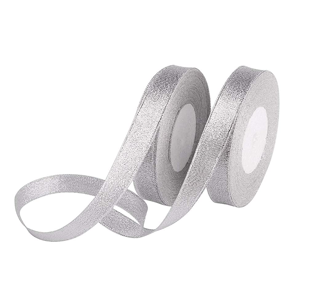 2 Rolls 0.39 inch Glitter Silver Ribbons 25yd Metallic Ribbons for Crafters Gifts Wrapping Decorations DIY Crafts Arts, Wedding, Home Decoration, Gift Wrap, Card Making, Floral Projects